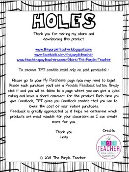 Holes novel : Pre-reading Activity Poster