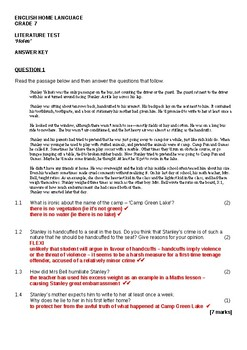 Holes - test - answer key