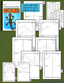 HOLES, BY LOUIS SACHAR: INTERACTIVE NOTEBOOK CHARACTERIZATION MINI FLIP