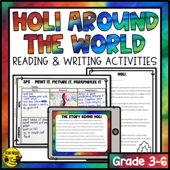 Holi Festival of Colors Reading and Writing Activities