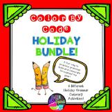 """Holiday ELA BUNDLE! 6 """"Color By Code"""" Activities Grades 3-6"""