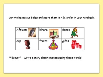 Holiday ABC Order Cut and Paste Pack