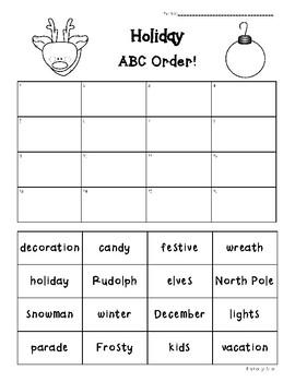 holiday abc order practice worksheet by 4 little baers tpt. Black Bedroom Furniture Sets. Home Design Ideas