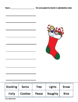 Holiday ABC alphabetical Order - Cut and Paste