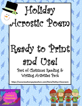 Christmas Holiday Acrostic Poem - FREE and Ready To Print!
