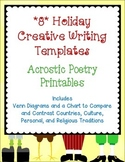 FREE Acrostic Poetry Templates *8* Holidays-Creative Writing Forms New Years +