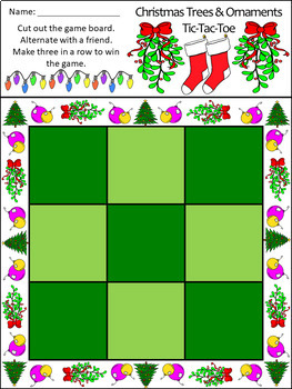Holiday Activities: Christmas Trees & Ornaments Tic-Tac-Toe Game Activity -Color