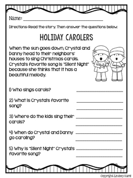 Holiday Activities Mini Stories and WH Comprehension Questions