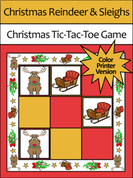 Holiday Activities: Reindeer & Sleighs Tic-Tac-Toe Christmas Game Activity-Color