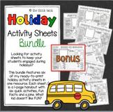 Holiday Activity Sheets Bundle with Bonus Back to School Sheet