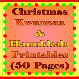 Holiday Activity Sheets Bundle (Christmas, Kwanzaa, Hanukkah)