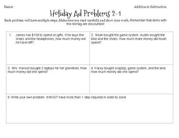 Holiday Ad Multi Step Math BUNDLE