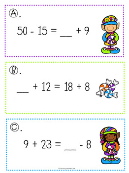 Christmas Addition and Subtraction Balancing Equations
