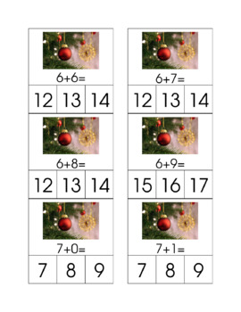 Holiday Addition and Subtraction Clip Cards Bundle