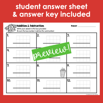 Holiday Addition and Subtraction with Regrouping Task Cards