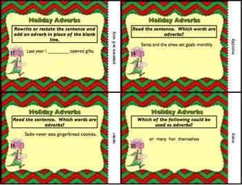 Christmas Holiday Adverb Task Cards