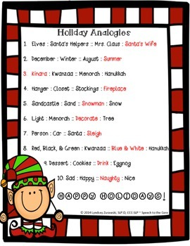 Holiday Analogies FREEBIE!