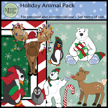 Holiday Animal Clip Art Pack {Messare Clips and Design}