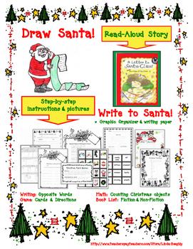 Draw Santa Claus!  Christmas Art Lesson plus Language Arts Activities
