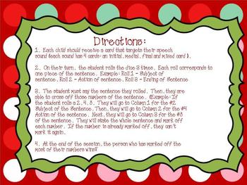 Holiday Articulation Sentences Pack (R,S,L,SH,CH,TH)