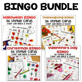 Holiday BINGO Bundle for Halloween, Thanksgiving, Christmas, and Valentine's Day