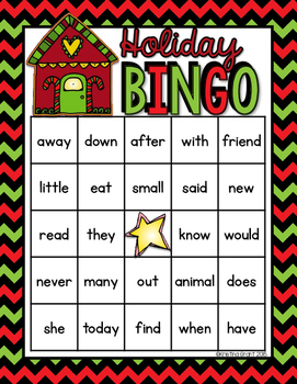 Holiday BINGO {sight words}