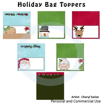 Holiday Bag Toppers Color Clip Art C. Seslar