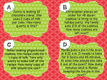 Holiday Baking Task Cards