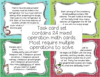 Holiday Baking with the Elves! {Mixed Operations Math Task Cards}