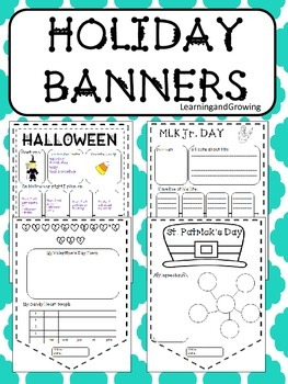 Holiday Banners (NO PREP) Bulletin Board!  (Christmas, New Year, Valentine's)