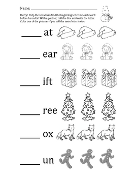 Holiday Beginning Sounds Dice Game