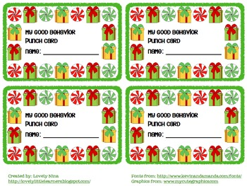 Holiday Behavior Punch Card
