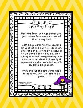 4 Bingo Games: Halloween, Winter, Valentine's, Spring
