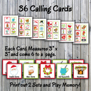 Holiday Bingo Cards and Memory Game - Christmas Bingo Printable - 30 Cards