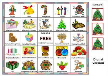 Christmas, Hanukkah, Kwanzaa Bingo Game