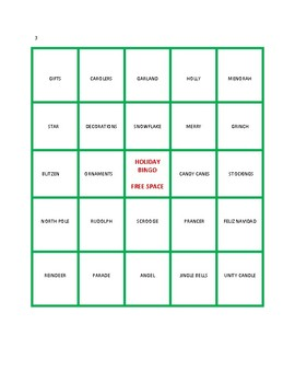 Holiday Bingo Game for Elementary Classrooms and Children's Groups