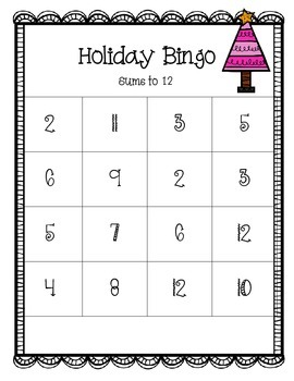 Holiday Bingo Sums to 12