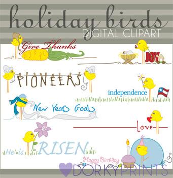 Holiday Birds Digital Clip Art Images