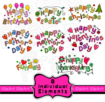Holiday & Birthday Clip Art Doodle Font Titles