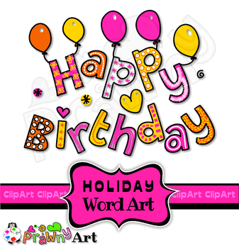 Holiday Birthday Clip Art Doodle Font Titles