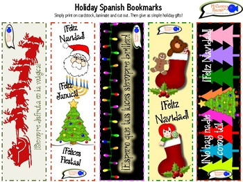 Holiday & Birthday Spanish Bookmarks for Student Prizes/Gifts