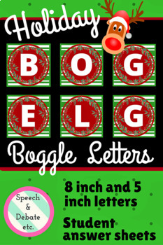 Holiday Boggle Letters & Answer Sheets