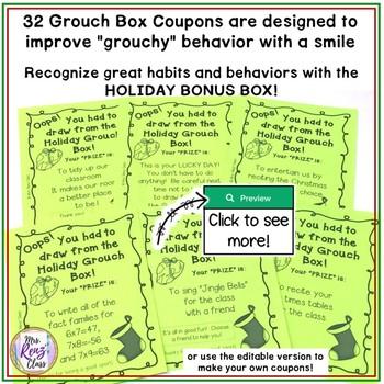 Christmas Behavior Incentive - The Holiday Bonus Box and Grouch Box FUN!