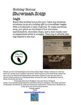 Holiday Bonus: Snowman Soup Tags