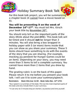 Holiday Book Talk - Summarizing