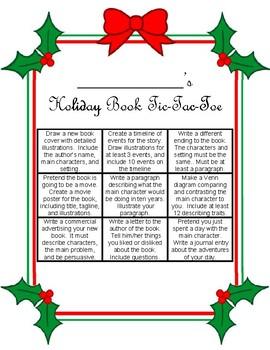 Holiday Book Tic Tac Toe Menu Template