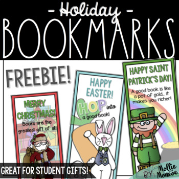 Holiday Bookmarks - A Student Gift Freebie