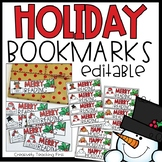 Christmas Bookmarks EDITABLE