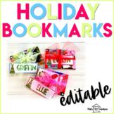 Holiday Bookmarks Editable | Christmas Gifts |
