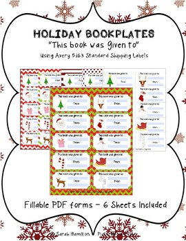 Holiday Bookplates Fillable PDF - This Book was Given to